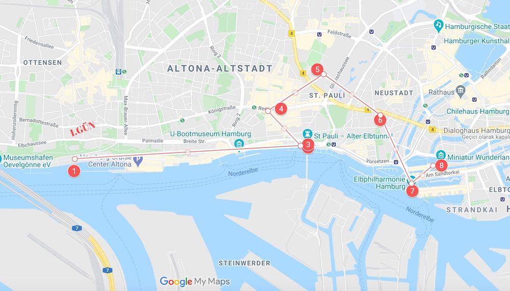 Hamburg Gezilecek Yerler Haritası