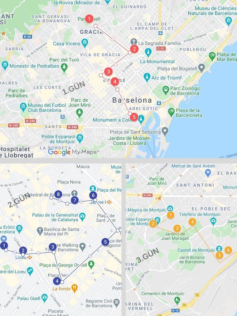 Barselona gezilecek yerler haritası