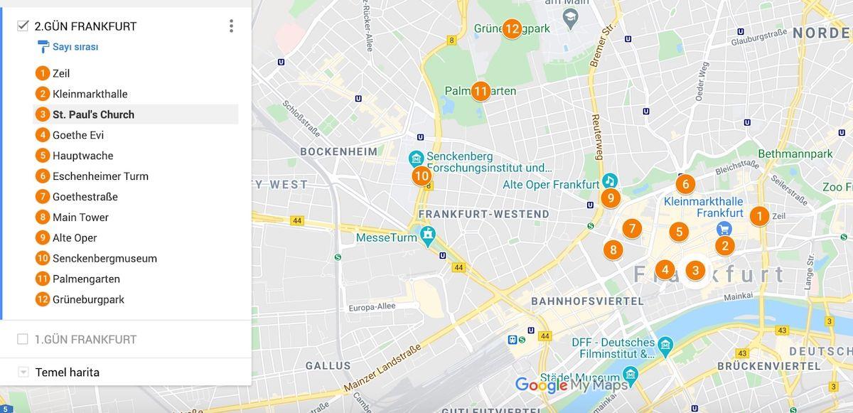 Frankfurt Gezilecek Yerler Haritası