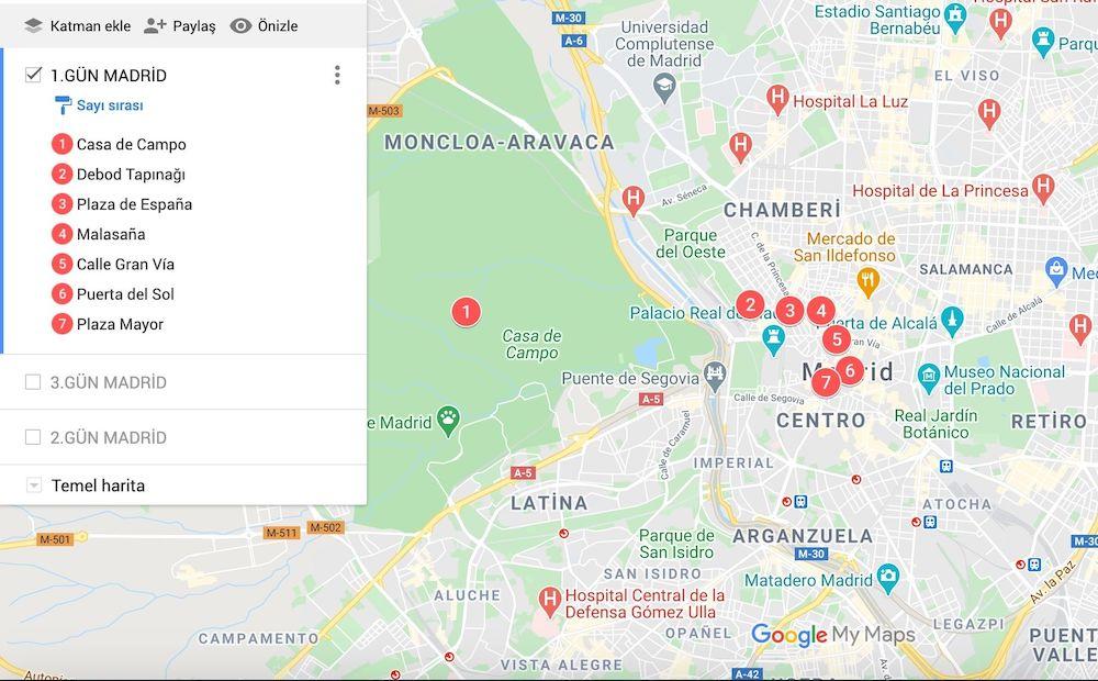 Madrid de Gezilecek yerler Haritası