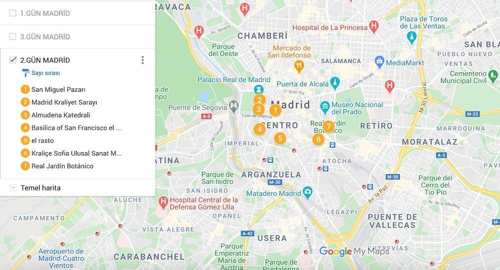 Madrid gezilecek yerler haritası