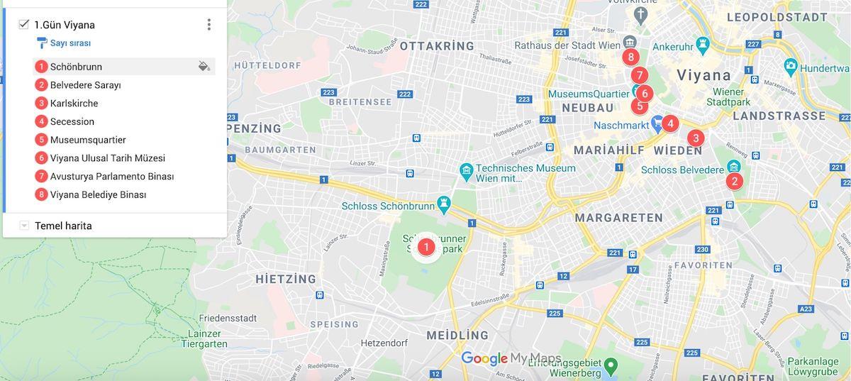 Viyana gezilecek yerler haritası