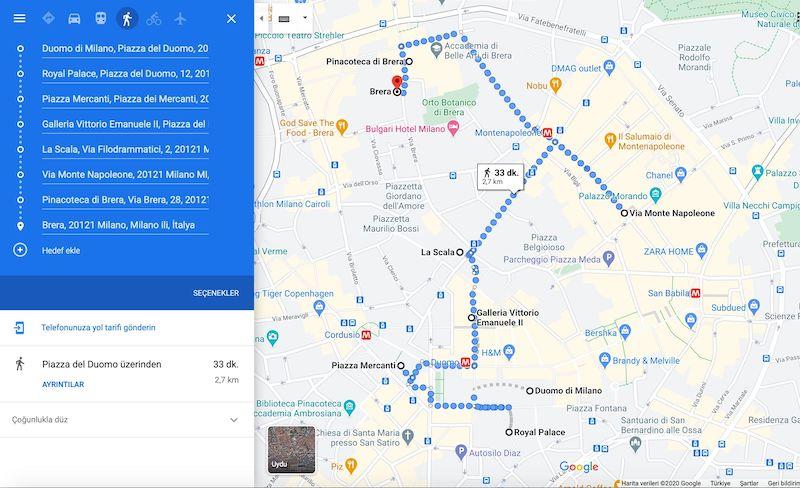 Milano da Gezilecek Yerler Haritası