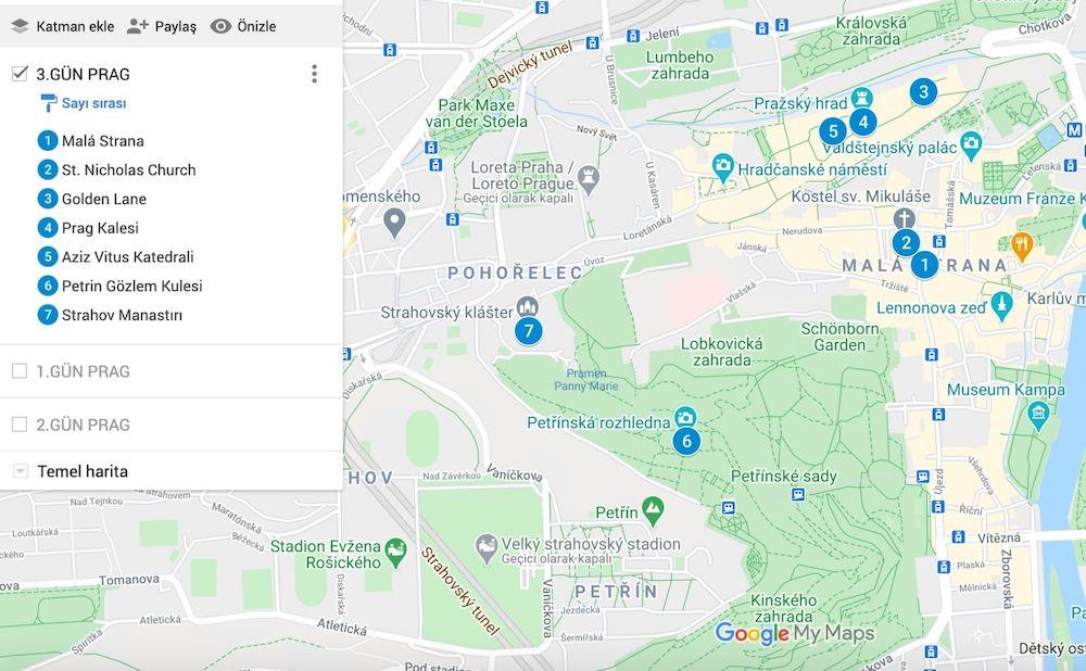 Prag da Gezilecek Yerler Haritası