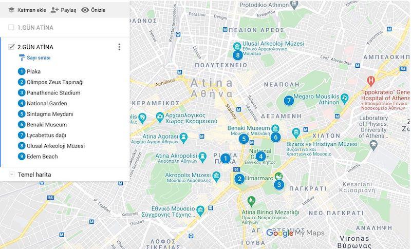 Atina da Gezilecek Yerler Haritası