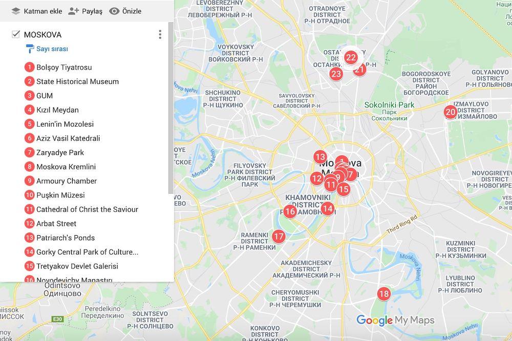 Moskova Gezilecek Yerler Haritası