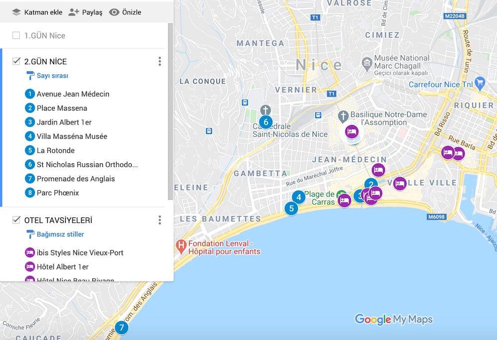 Nice te Gezilecek Yerler Haritası