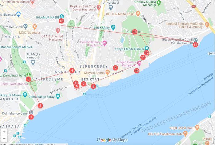 Beşiktaş Gezilecek Yerler Haritası