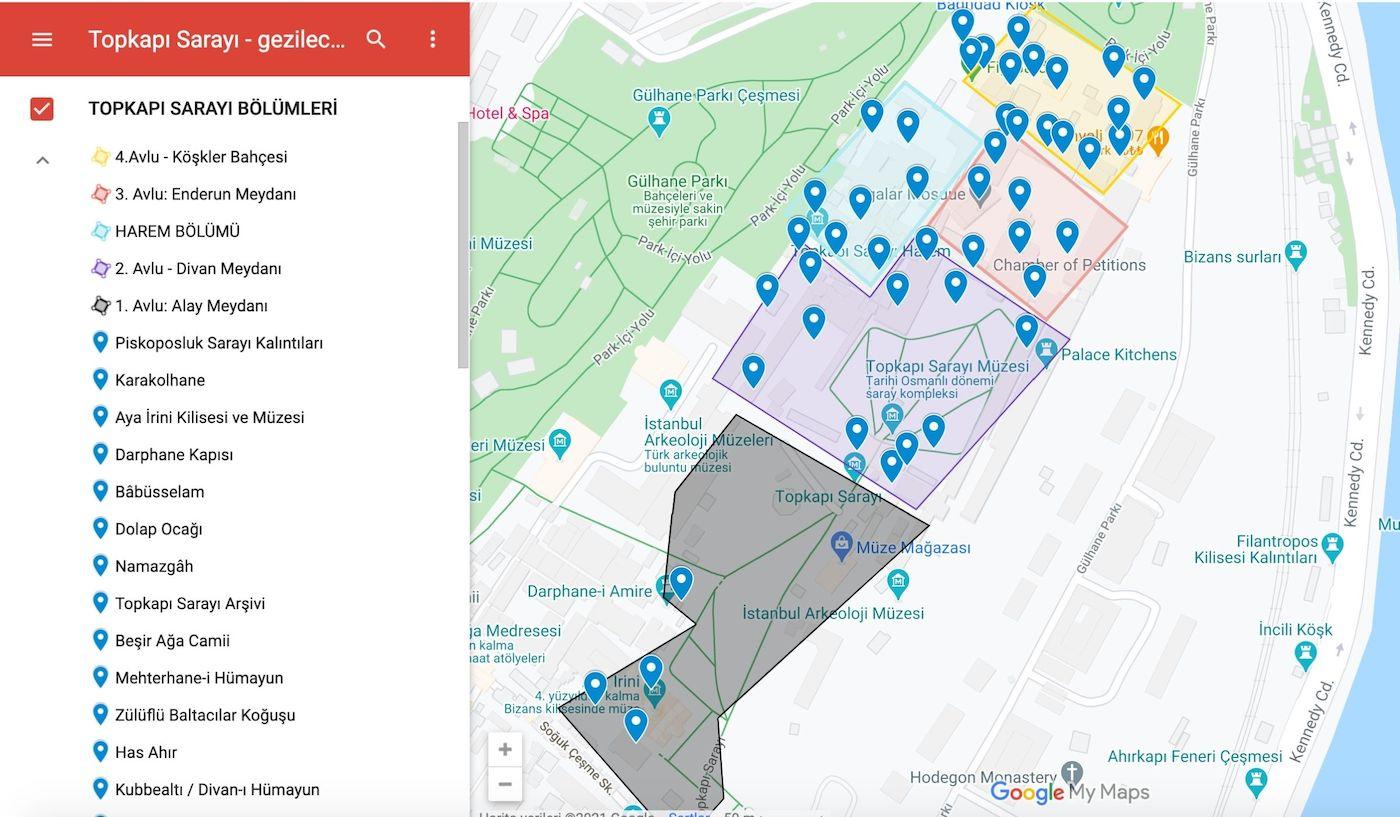 Topkapı Sarayı Bölümleri Haritası