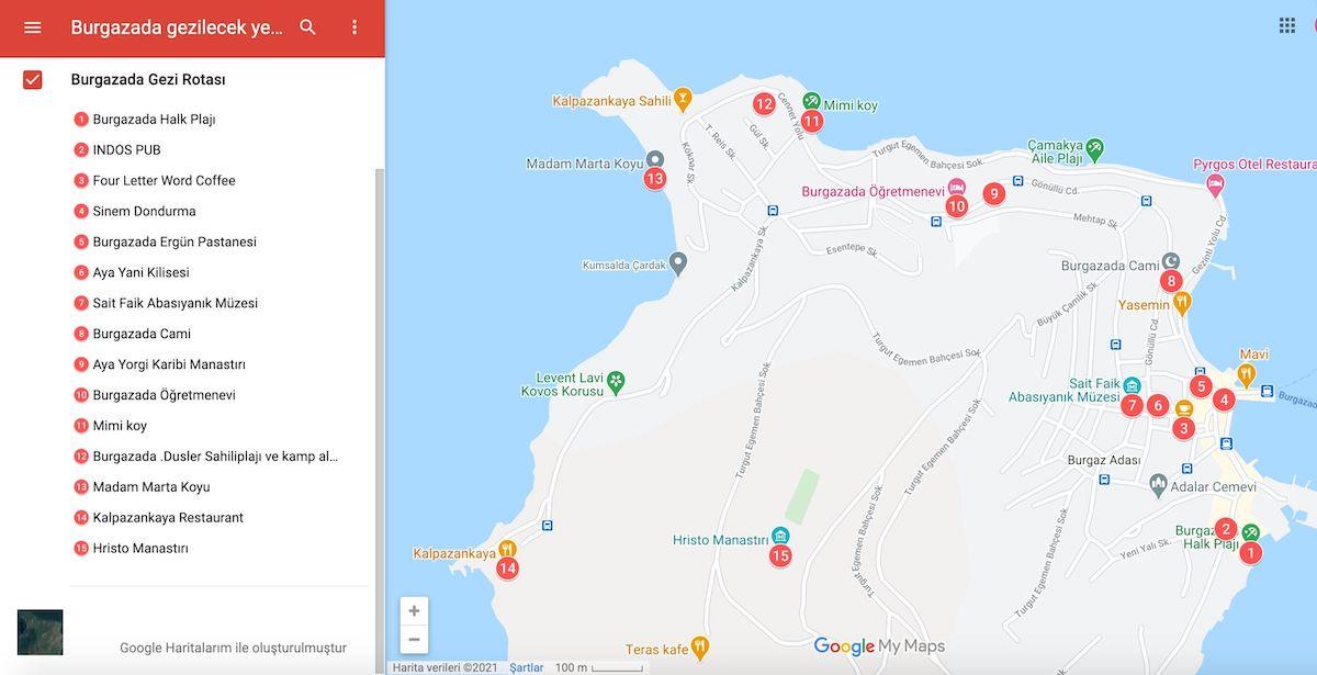 Burgazada Gezilecek Yerler Haritası