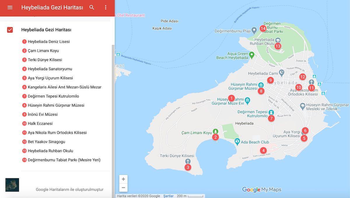 Heybeliada Gezi Haritası