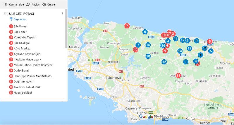 Şile Gezilecek Yerler Haritası ve Şile Köyleri Haritası