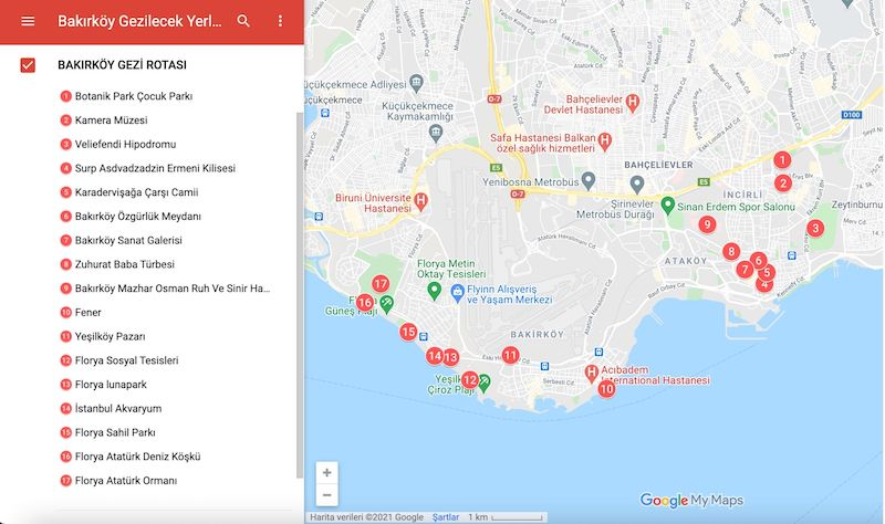 Bakırköy Gezilecek Yerler Haritası