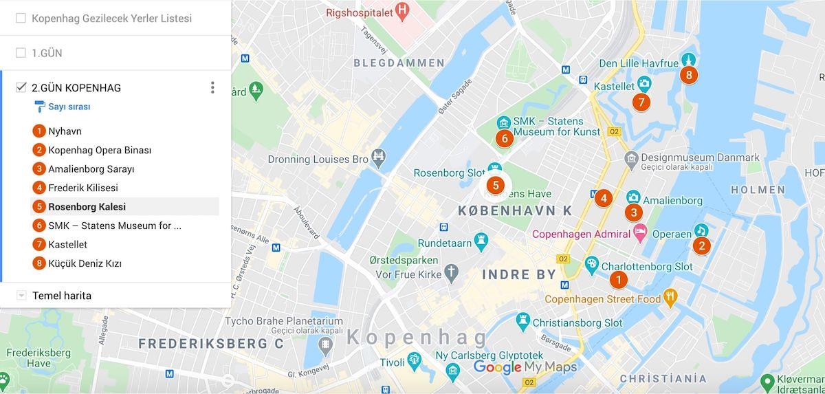 Kopenhag Gezilecek Yerler Haritası