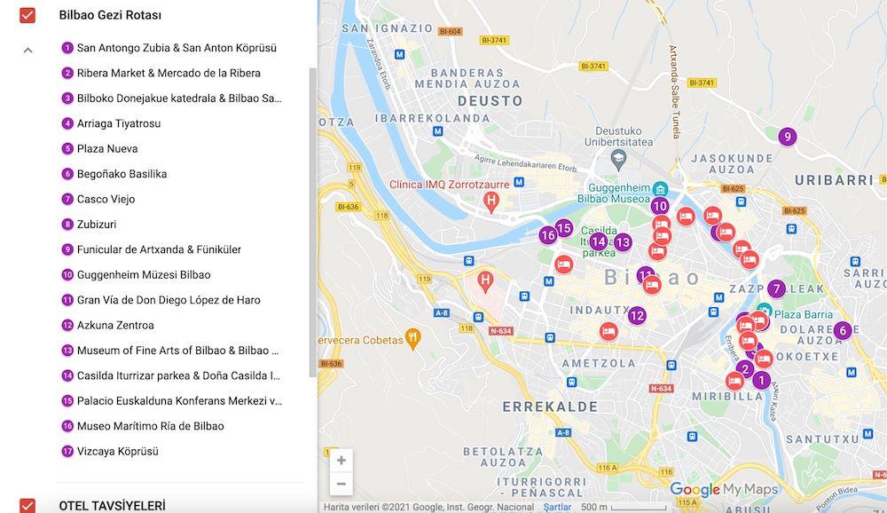 Bilbao da gezilecek yerler haritası