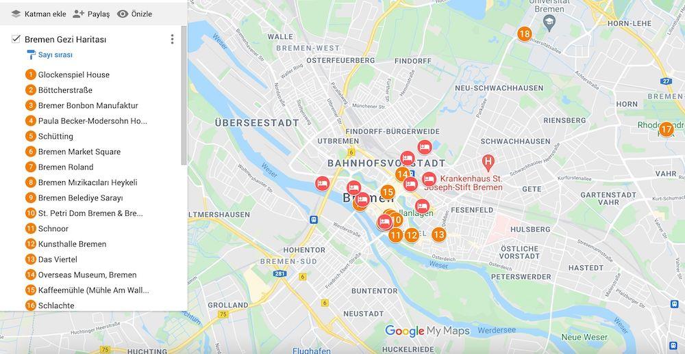 Bremen de gezilecek yerler haritası