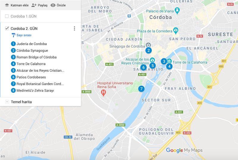 Cordoba Gezilecek Yerler Haritası