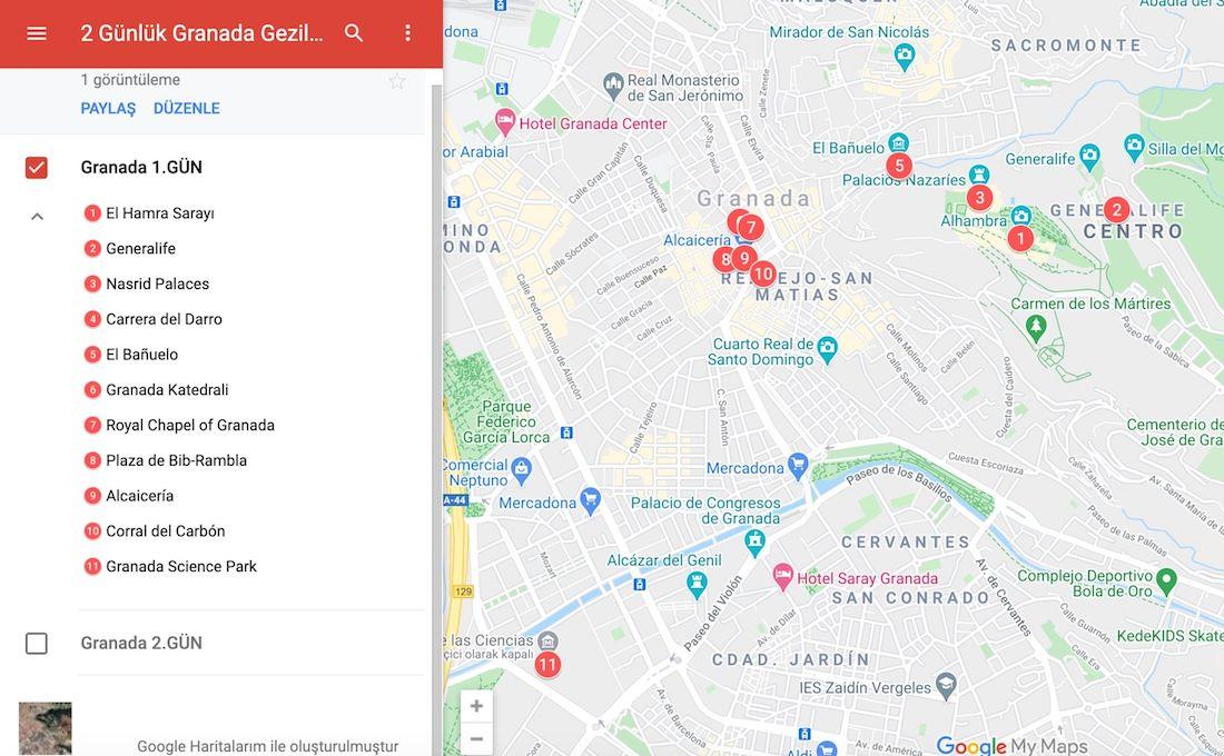 Granada gezilecek yerler haritası