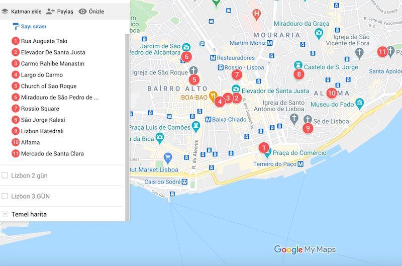 Lizbon da gezilecek yerler haritası