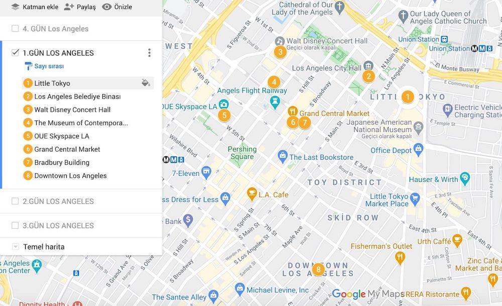 Los Angeles Gezilecek Yerler Haritası