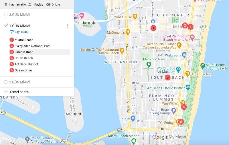 Miami Gezilecek Yerler Haritası