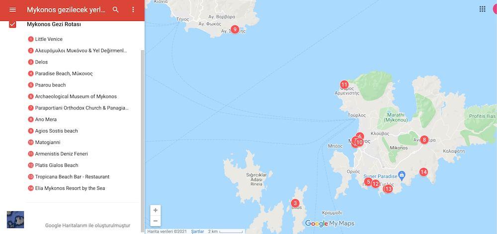 Mykonos gezilecek yerler haritası