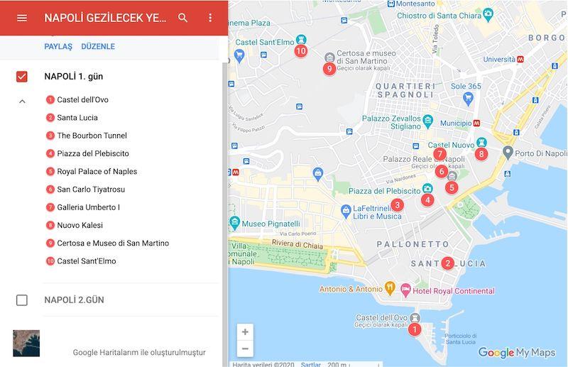 Napoli Gezilecek Yerler Haritası