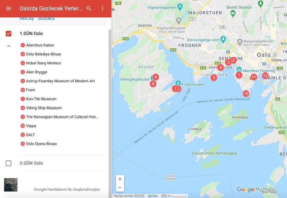Oslo Gezilecek Yerler Haritası
