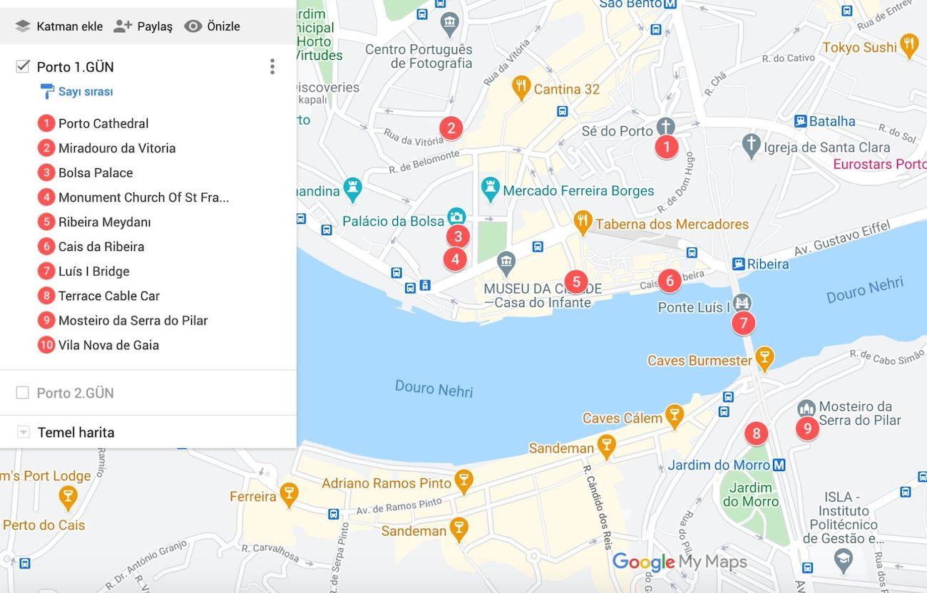 Porto da Gezilecek Yerler Haritası