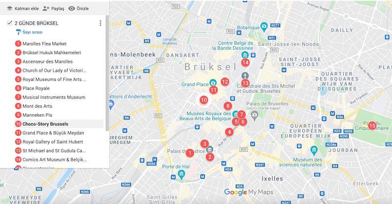Brüksel de gezilecek yerler haritası