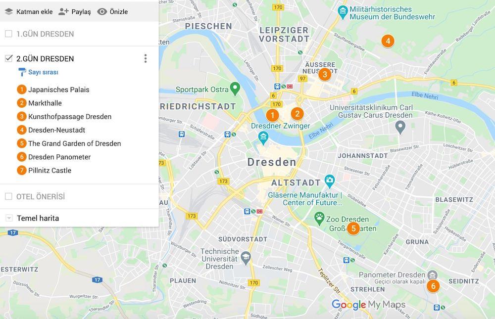 Dresden de Gezilecek Yerler Haritası