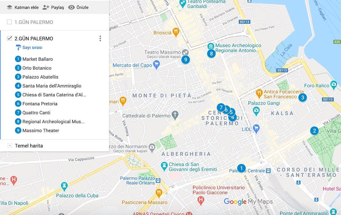 Palermo da Gezilecek Yerler Haritası