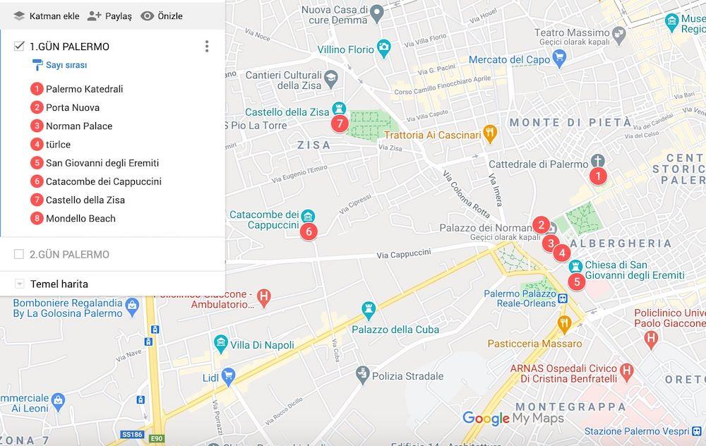 Palermo Gezilecek yerler Haritası