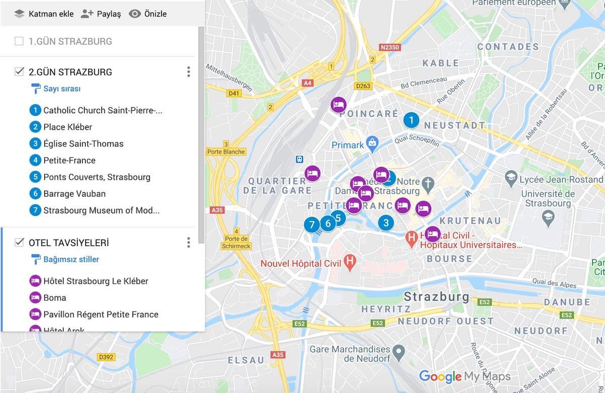 Strazburg Gezilecek Yerler Haritası