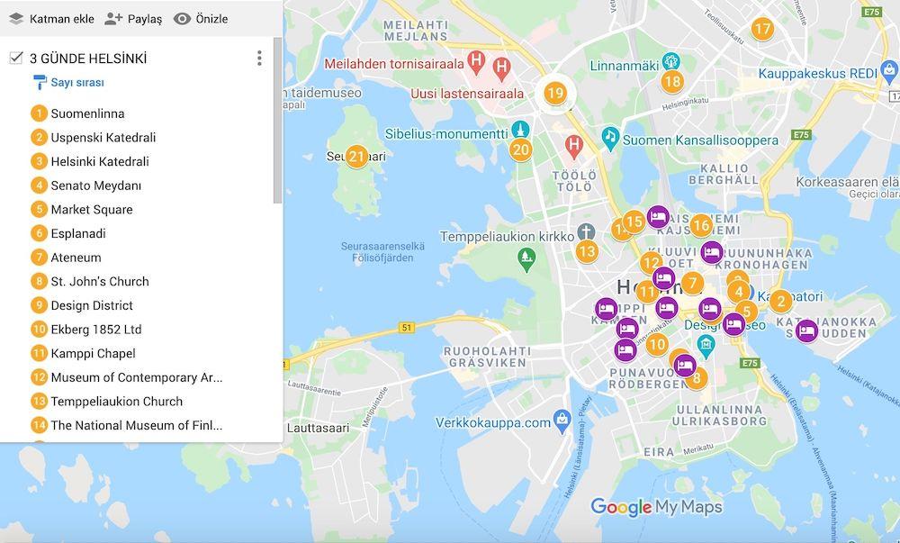 Helsinki Gezilecek Yerler Haritası
