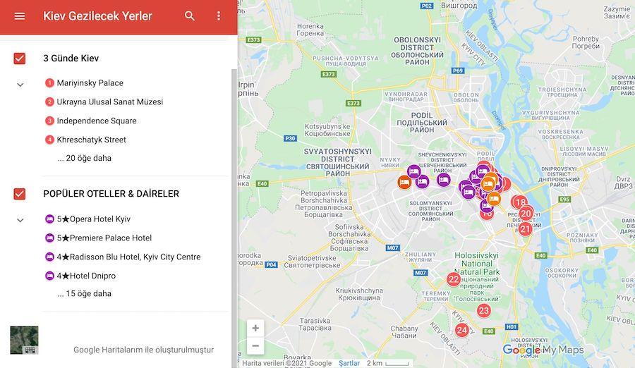 Kiev de gezilecek yerler haritası